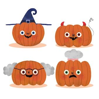 Handgetekende halloween pompoenen collectie