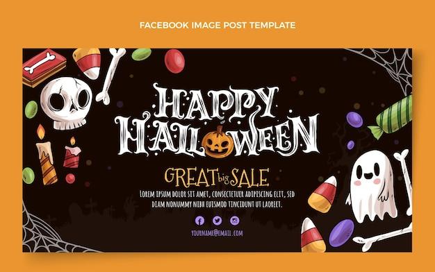 Handgetekende halloween-postsjabloon voor sociale media