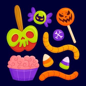 Handgetekende halloween-snoepcollectie