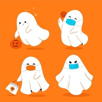 Handgetekende halloween-spookcollectie
