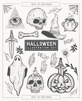 Handgetekende halloween thema illustratie set