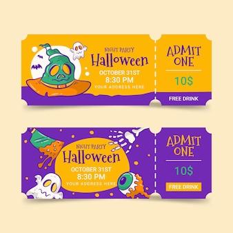Handgetekende halloween-ticketscollectie
