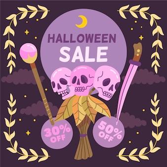 Handgetekende halloween verkoop ontwerp