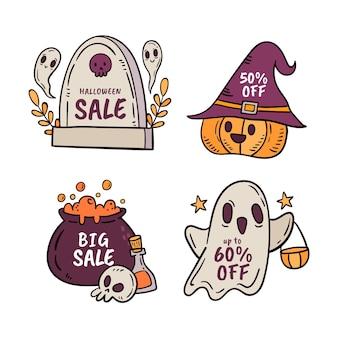 Handgetekende halloween-verkooplabelscollectie