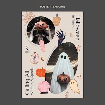 Handgetekende halloween verticale postersjabloon