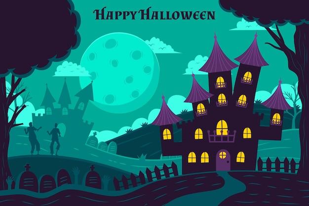 Handgetekende halloween wallpaper concept