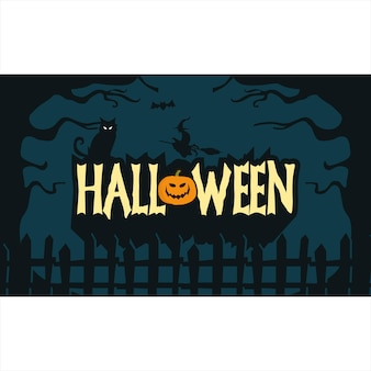 Handgetekende halloween wallpaper donkere achtergrond