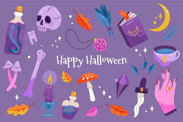 Handgetekende halloween wallpaper ontwerp