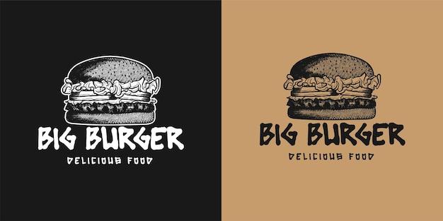 Handgetekende hamburger logo inspiratie