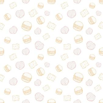 Handgetekende hamburger vintage patroon voor verpakking