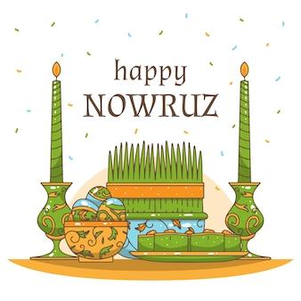 Handgetekende happy nowruz-dag evenement