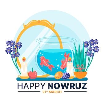 Handgetekende happy nowruz illustratie met spiegel en goudvissenkom