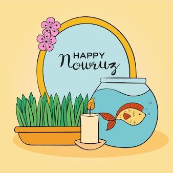 Handgetekende happy nowruz illustratie met spiegel en kaars