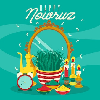 Handgetekende happy nowruz illustratie met spiegel en spruiten