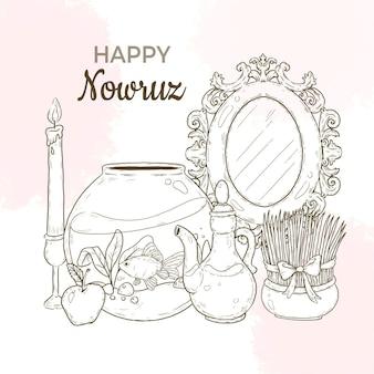 Handgetekende happy nowruz illustratie met spiegel en vissenkom