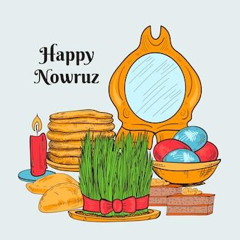 Handgetekende happy nowruz illustratie met spiegel