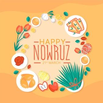 Handgetekende happy nowruz illustratie met spruiten en elementen