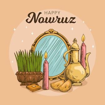 Handgetekende happy nowruz illustratie met spruiten en spiegel