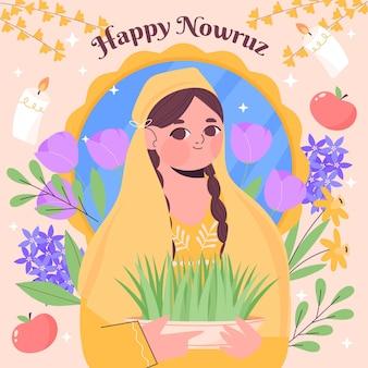 Handgetekende happy nowruz illustratie