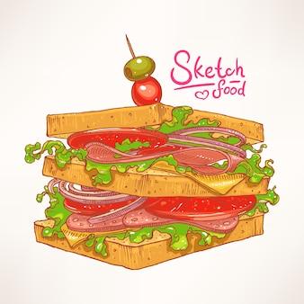 Handgetekende heerlijke verse sandwich met vlees, salade en tomaat