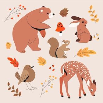 Handgetekende herfst dieren collectie