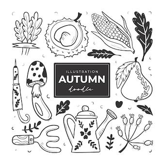 Handgetekende herfst doodle kleurloze illustraties set van schattige vectorobjecten