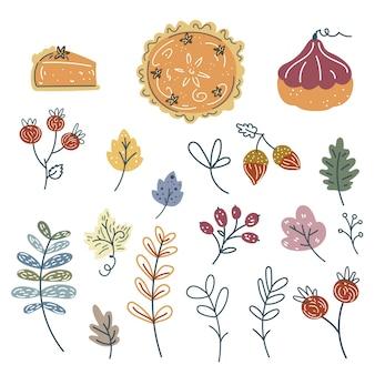 Handgetekende herfst elementen collectie pompoentaart pompoenen bessen gebladerte bladeren eikels
