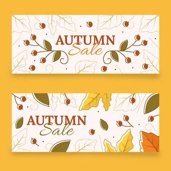 Handgetekende herfst horizontale banners set