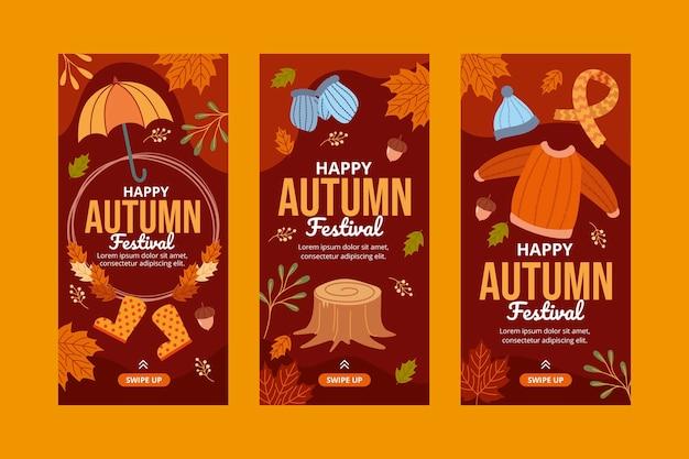 Handgetekende herfst instagram verhalencollectie Gratis Vector