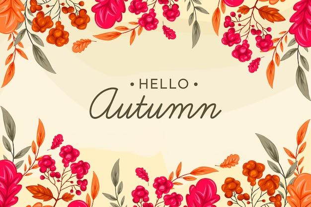 Handgetekende herfst wallpaper ontwerp
