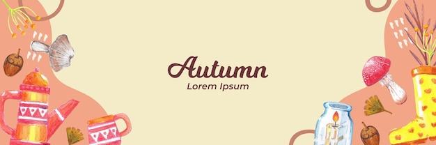 Handgetekende herfstbanner