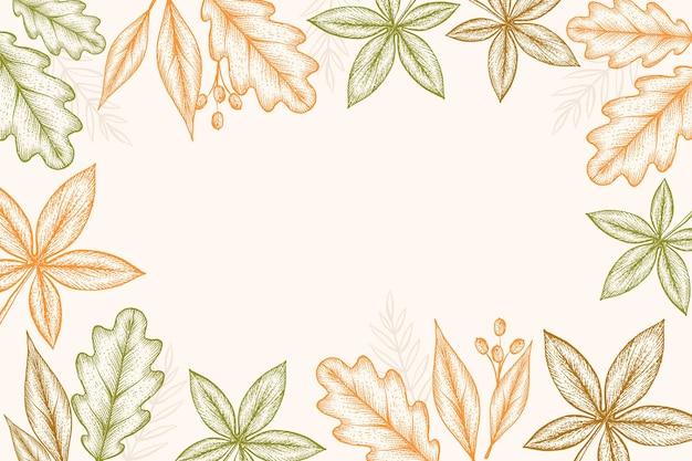 Handgetekende herfstbladeren achtergrond graveren