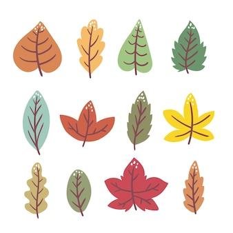 Handgetekende herfstbladeren collectie