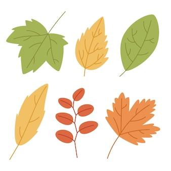 Handgetekende herfstbladeren