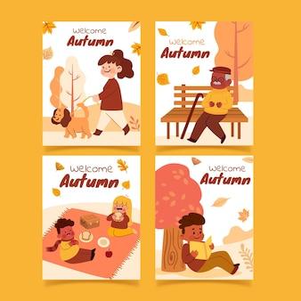 Handgetekende herfstkaarten collectie