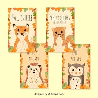 Handgetekende herfstkaarten met mooie dieren