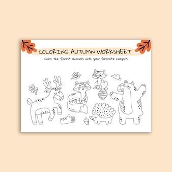 Handgetekende herfstkleuren werkblad