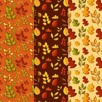 Handgetekende herfstpatronen collectie
