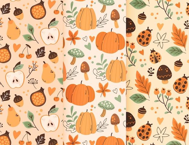 Handgetekende herfstpatrooncollectie