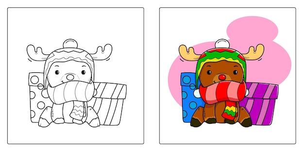 Handgetekende herten kerst met cadeau kleurplaten premium vector