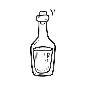 Handgetekende hipster bootle met zwarte vloeistof. doodle schets stijl. tekening lijn eenvoudige fles pictogram. geïsoleerde vectorillustratie.