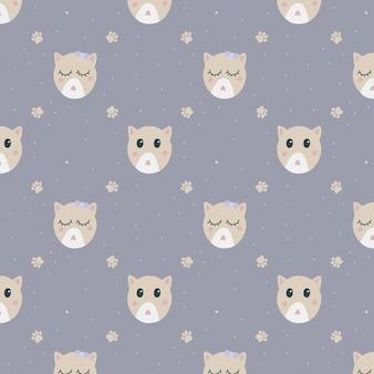 Handgetekende hoed van kattenpatroon