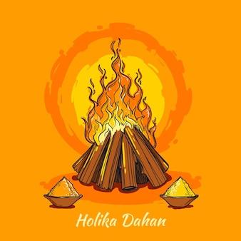 Handgetekende holika dahan illustratie met kampvuur