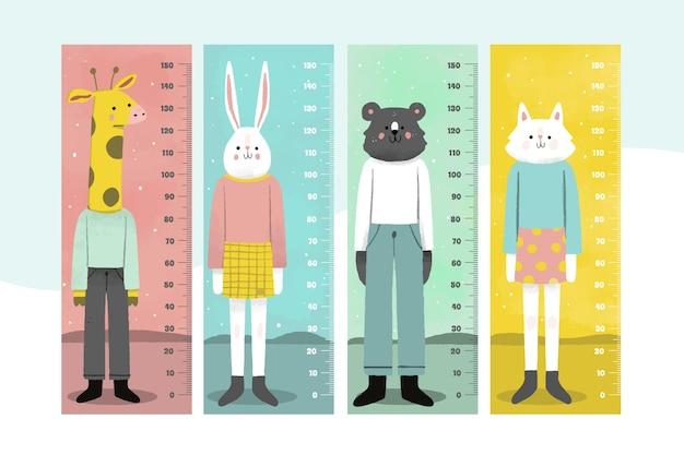Handgetekende hoogtemeter set
