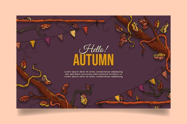 Handgetekende horizontale herfstbanner