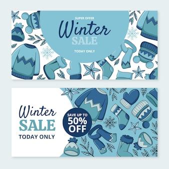 Handgetekende horizontale winterverkoop banners set