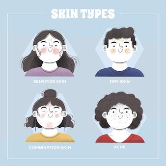 Handgetekende huidtypes illustratie