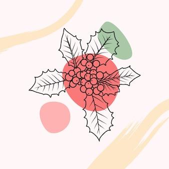 Handgetekende hulstbesdecoratie in lijnkunststijl