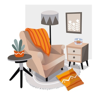 Handgetekende hygge meubels binnenshuis