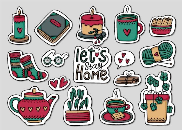 Handgetekende hygge stickers